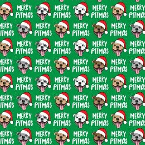 "(3/4"" scale) Merry Pitmas - pit bull Santa hats - pitties - green - Christmas dogs - LAD19"