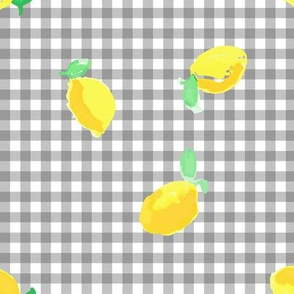 Watercolour lemons - gingham