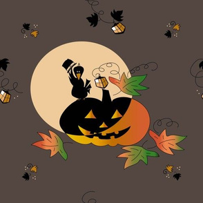 A crow on the pumpkin