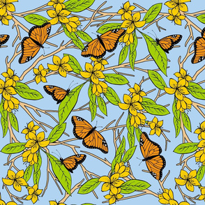 Monarch Butterflies and Yellow Flowers