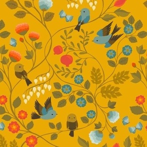 Fruit Birds Chinoiserie {Gold} - medium