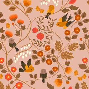 Fruit Birds Chinoiserie {Blush} - medium