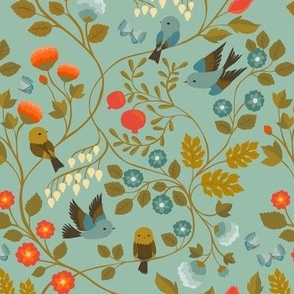 Fruit Birds Chinoiserie {Eggshell Blue} - medium