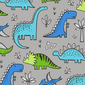 Dinosaurs Green & Blue on Grey
