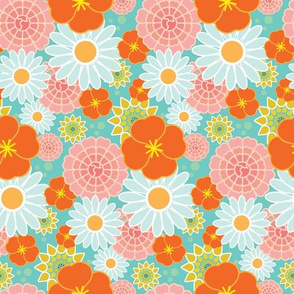 Happy Flowers in teal
