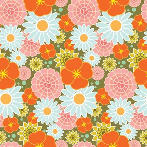 Happy Flowers in olive