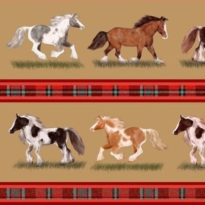 Custom Gypsy Vanner Stripe Red and Tan