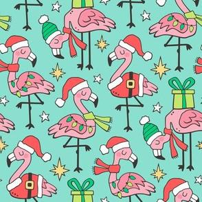 Christmas Holidays Flamingos on Mint Green