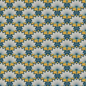 Art Deco Sunburst Floral in Scallop Pattern