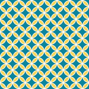 Blue and Yellow Geometric Butterfly Pattern