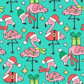 Christmas Holidays Flamingos on Dark Mint Green