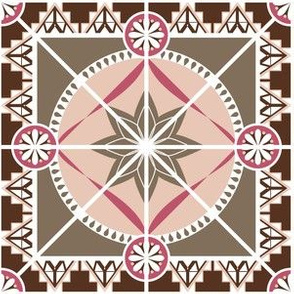 Star Tile in Boho Style, Pink and Earth Tones