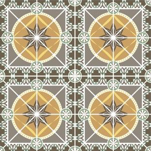"Earth Tones 3"" Tile in Art Deco 1920s Style"