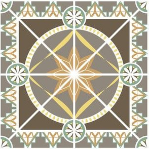 "Art Deco Style 6"" Tile in Earth Tones"