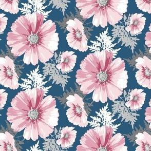 Pink Cosmos Flowers on Dark Blue