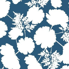 Cosmos Flower Silhouettes in Blue and White