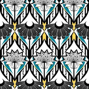 Ornate Flowers in Black, White, Blue, and Yellow