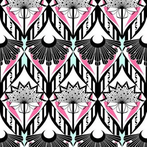 Ornate Flower Wallpaper in Black, White, Teal and Pink