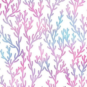 Magical Coral Pattern in Mermaid Colored Watercolor on White