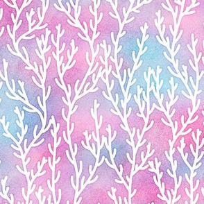 Magical Coral Pattern in White on Mermaid Colored Watercolor