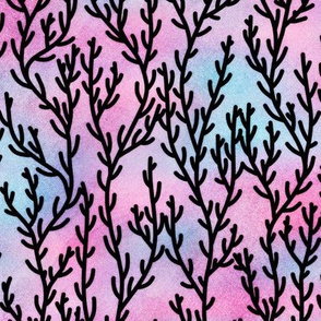 Magical Coral Pattern in Black on Mermaid Colored Watercolor