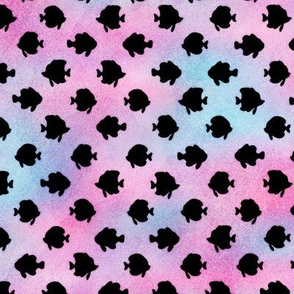 Magical Fish Pattern in Black on Mermaid Colored Watercolor