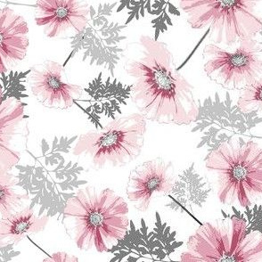 Pink and Gray Floral on Chevron Pattern