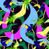 Toucan bird,tropical pattern