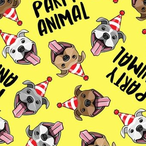 party animals - pit bulls - smiling pit bulls party hats - yellow - LAD19