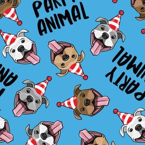 party animals - pit bulls - smiling pit bulls party hats - blue - LAD19