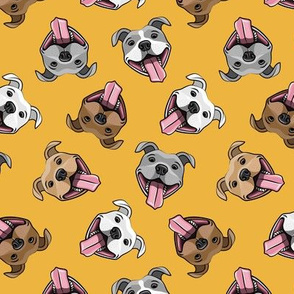 Smiling dogs - dark yellow - happy pit bulls  - LAD19