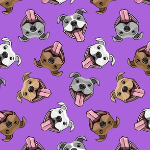 Smiling dogs - purple - happy pit bulls  - LAD19