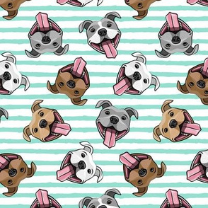 Smiling dogs - aqua stripes  - happy pit bulls  - LAD19