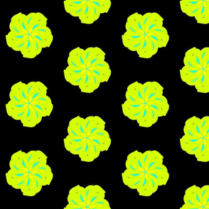 Safety Dance Funky Flower Bright Green, with Yellow and Blue on Black