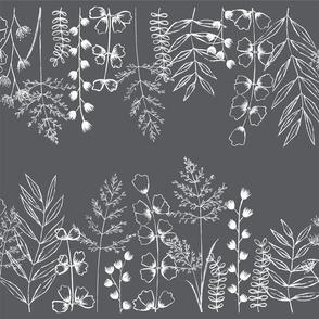 Grass Fields - White on Midnight Medium Scale