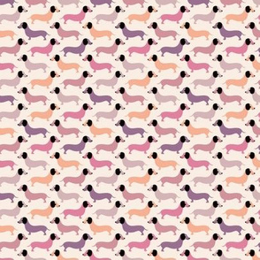 Vintage doxie sausage dogs dachshund illustration pattern pink mauve pastel girls XS