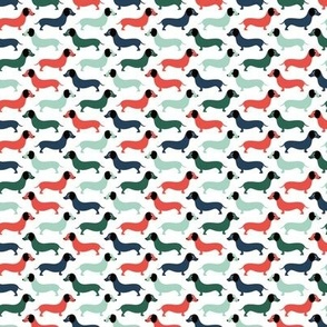 Vintage doxie sausage dogs dachshund illustration pattern christmas green gender neutral  XS