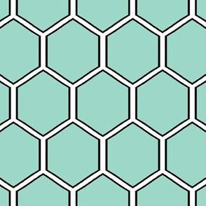 Geometric Hexagon -Honeycomb med-Seafoam Green