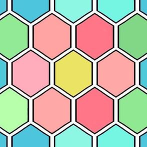 Colorful Geometric Save the Honey Bees - Honeycomb med See description