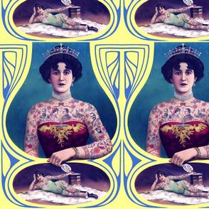 tattoos body modification circus freak shows sideshow princess queen tiara crowns burlesque alternative pinup models woman lady beautiful corset antique antique vintage juxtaposition  pearls choker necklace