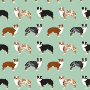 aussie dog fabric - australian shepherds dog fabric, dog design, cute dog, pet - mint