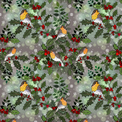 Wee Robins in a Holly Tree