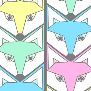 woodland fox chevron pastel colors jumbo scale