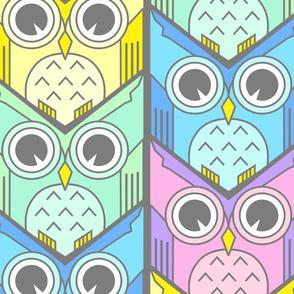 woodland owl chevron pastel colors jumbo scale