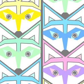 woodland raccoons chevron pastel colors jumbo scale