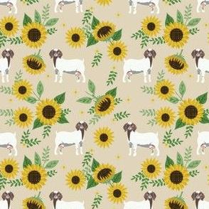 boer goat sunflower fabric - farm floral fabric, goat floral fabric, goat fabric, boer goat -taupe