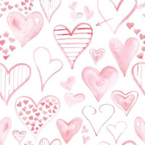 Rosy Pink Hearts // White