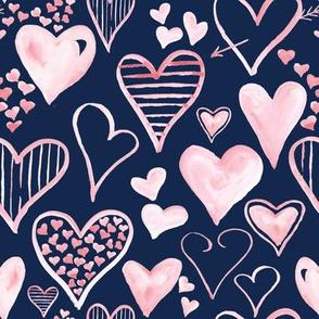 Rosy Pink Hearts // Blue Zodiac