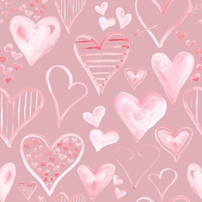 Rosy Pink Hearts // Cavern Pink