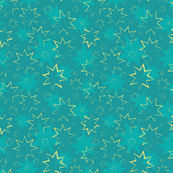 Gold Stars on Teal
